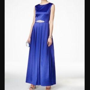 Tahari ASL Embellished Satin Gown Royal 16